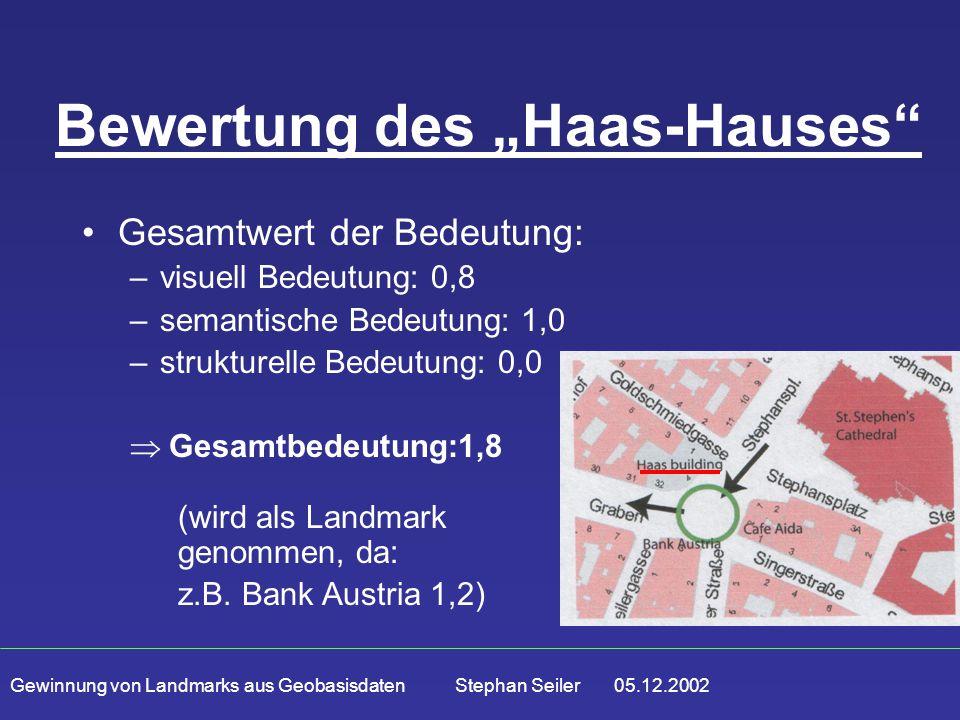 """Gewinnung von Landmarks aus Geobasisdaten Stephan Seiler 05.12.2002 Bewertung des """"Haas-Hauses Gesamtwert der Bedeutung: –visuell Bedeutung: 0,8 –semantische Bedeutung: 1,0 –strukturelle Bedeutung: 0,0  Gesamtbedeutung:1,8 (wird als Landmark genommen, da: z.B."""