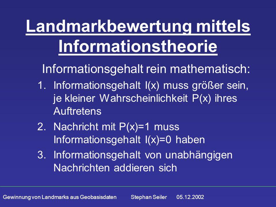 Gewinnung von Landmarks aus Geobasisdaten Stephan Seiler 05.12.2002 Landmarkbewertung mittels Informationstheorie Informationsgehalt rein mathematisch: 1.Informationsgehalt I(x) muss größer sein, je kleiner Wahrscheinlichkeit P(x) ihres Auftretens 2.Nachricht mit P(x)=1 muss Informationsgehalt I(x)=0 haben 3.Informationsgehalt von unabhängigen Nachrichten addieren sich