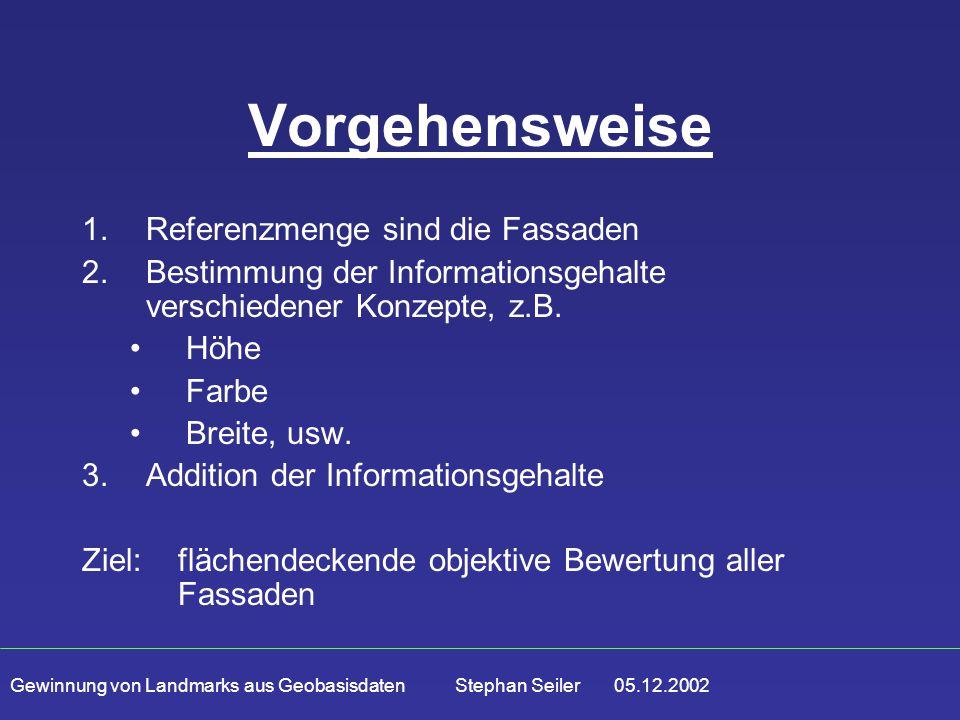 Gewinnung von Landmarks aus Geobasisdaten Stephan Seiler 05.12.2002 Vorgehensweise 1.Referenzmenge sind die Fassaden 2.Bestimmung der Informationsgehalte verschiedener Konzepte, z.B.