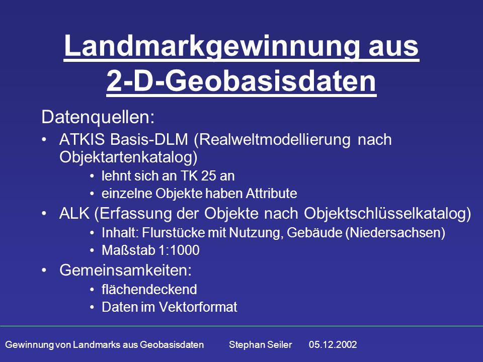 Gewinnung von Landmarks aus Geobasisdaten Stephan Seiler 05.12.2002 Landmarkgewinnung aus 2-D-Geobasisdaten Datenquellen: ATKIS Basis-DLM (Realweltmod
