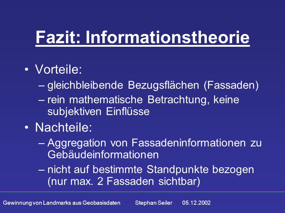 Gewinnung von Landmarks aus Geobasisdaten Stephan Seiler 05.12.2002 Fazit: Informationstheorie Vorteile: –gleichbleibende Bezugsflächen (Fassaden) –re