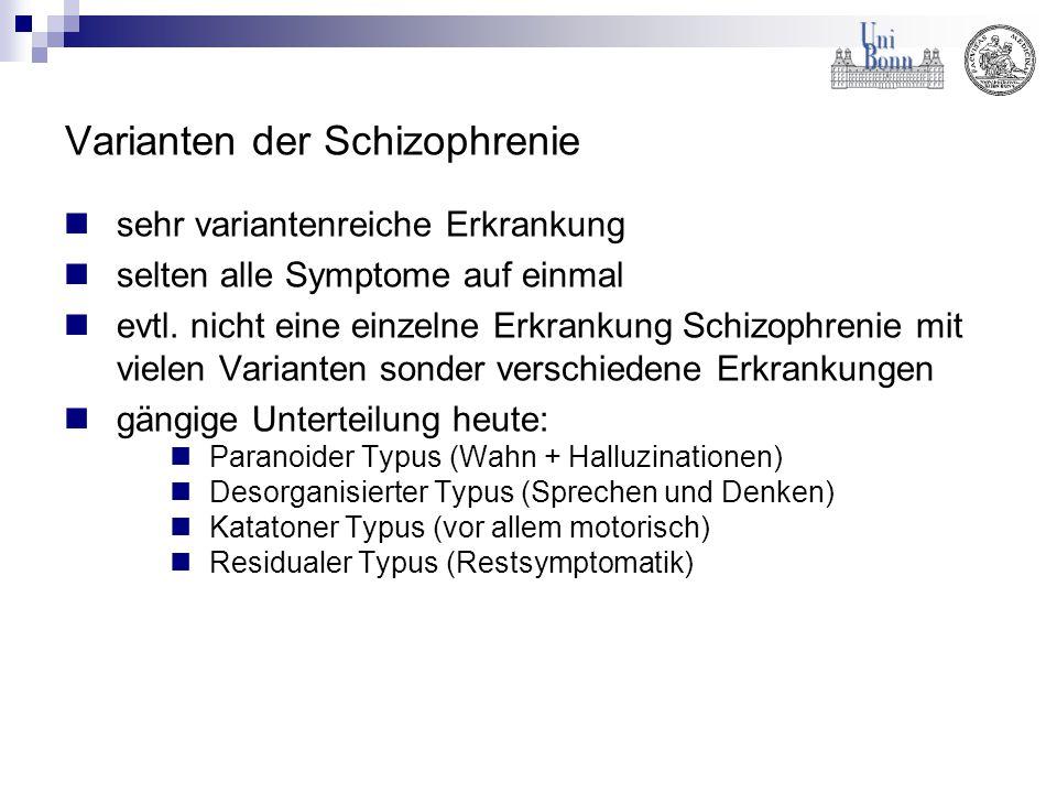Varianten der Schizophrenie sehr variantenreiche Erkrankung selten alle Symptome auf einmal evtl. nicht eine einzelne Erkrankung Schizophrenie mit vie