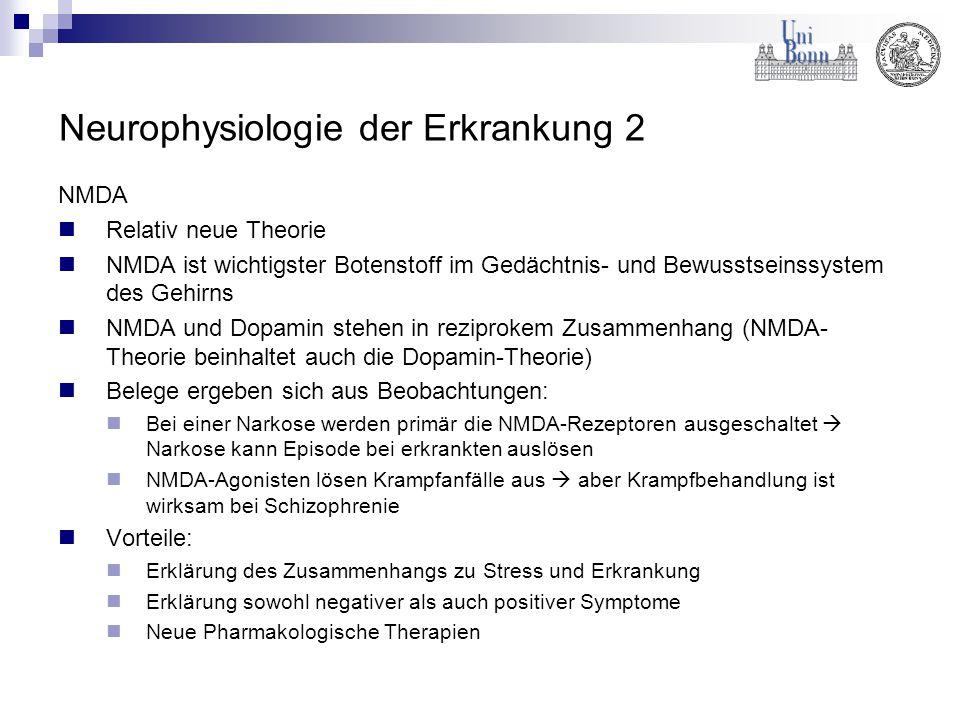 Neurophysiologie der Erkrankung 2 NMDA Relativ neue Theorie NMDA ist wichtigster Botenstoff im Gedächtnis- und Bewusstseinssystem des Gehirns NMDA und