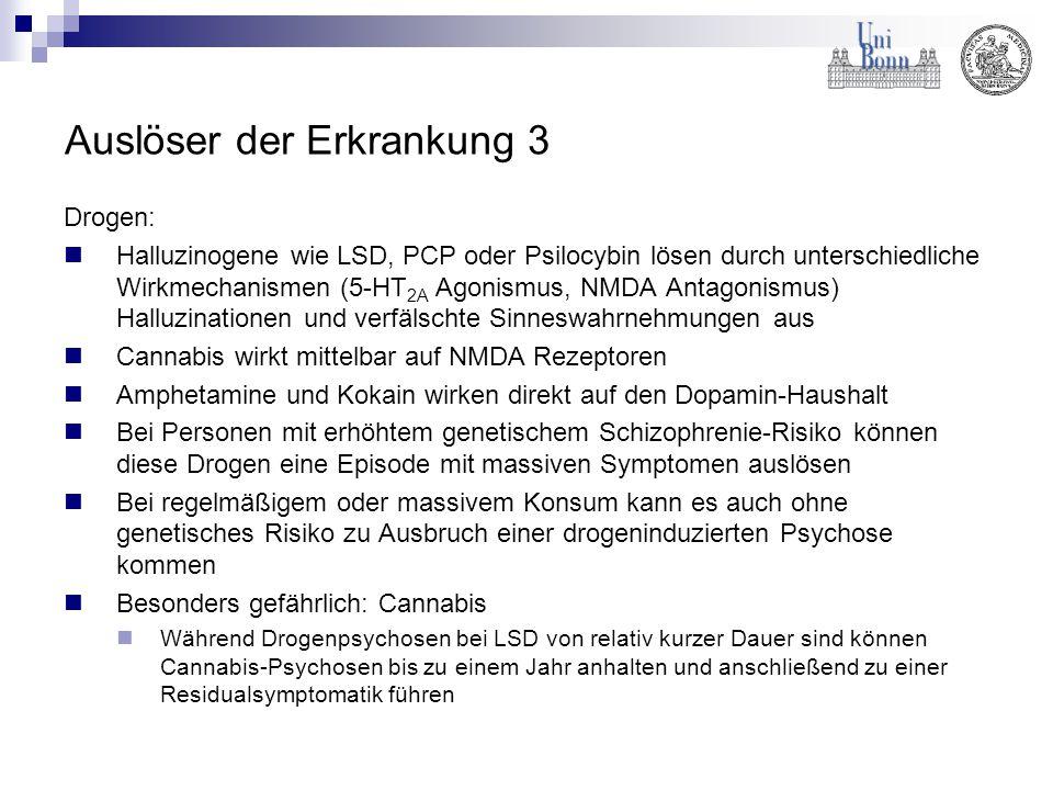 Auslöser der Erkrankung 3 Drogen: Halluzinogene wie LSD, PCP oder Psilocybin lösen durch unterschiedliche Wirkmechanismen (5-HT 2A Agonismus, NMDA Ant