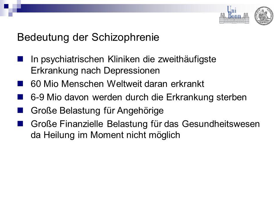 Bedeutung der Schizophrenie In psychiatrischen Kliniken die zweithäufigste Erkrankung nach Depressionen 60 Mio Menschen Weltweit daran erkrankt 6-9 Mi