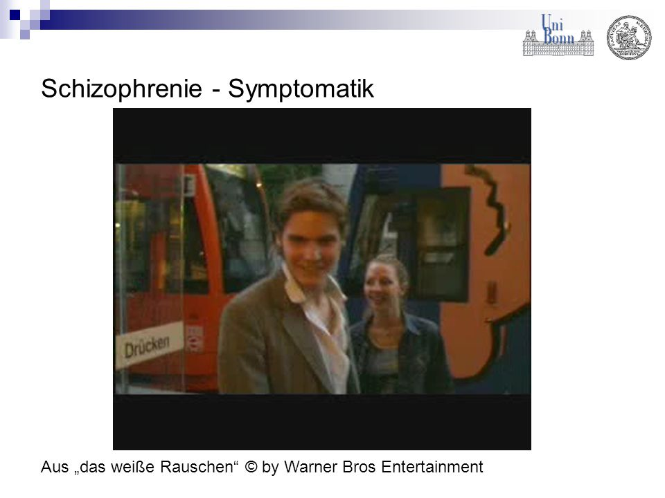 Symptombereiche der Schizophrenie Frühstadium 1.Emotional 2.Motorisch 3.Denken 4.Aufmerksamkeit und Wahrnehmung 5.Alltagsfertigkeiten Residual- / Alterssymptome