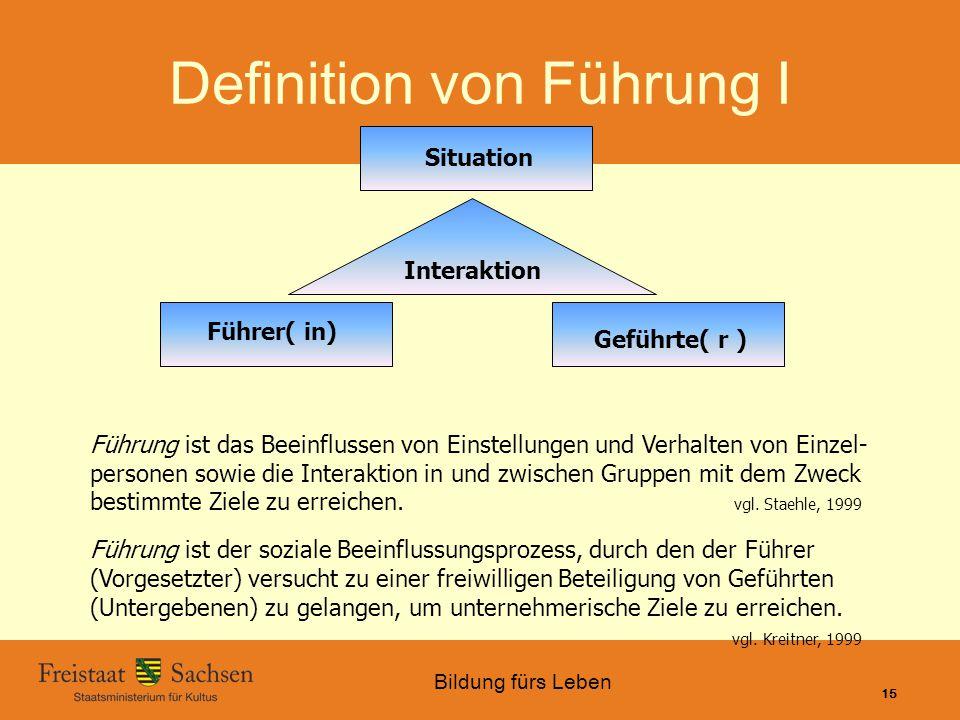 Bildung fürs Leben 01.06.2015 SMK – Bildung fürs Leben 15 Situation Interaktion Führer( in) Geführte( r ) Führung ist das Beeinflussen von Einstellung