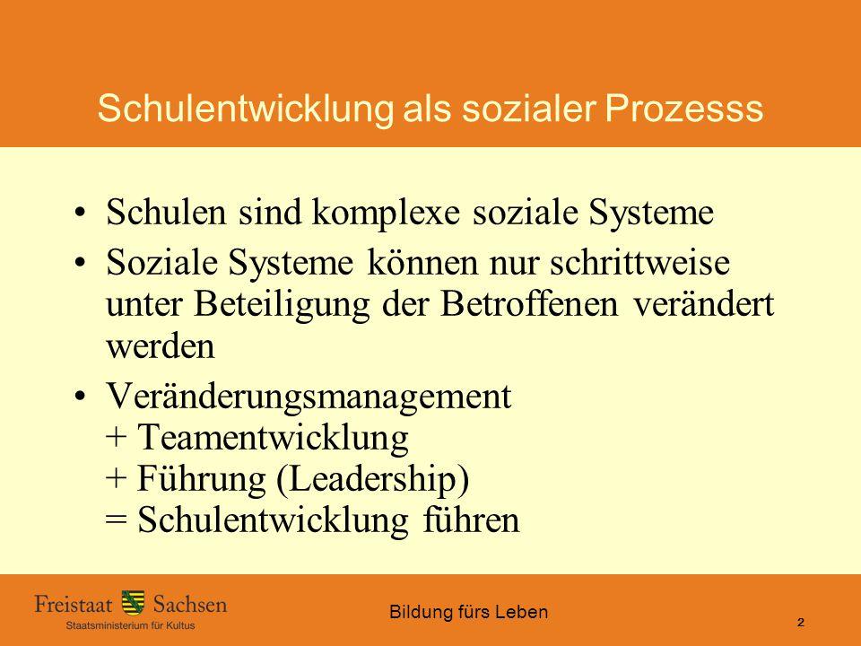 Bildung fürs Leben 01.06.2015 SMK – Bildung fürs Leben 2 Schulentwicklung als sozialer Prozesss Schulen sind komplexe soziale Systeme Soziale Systeme