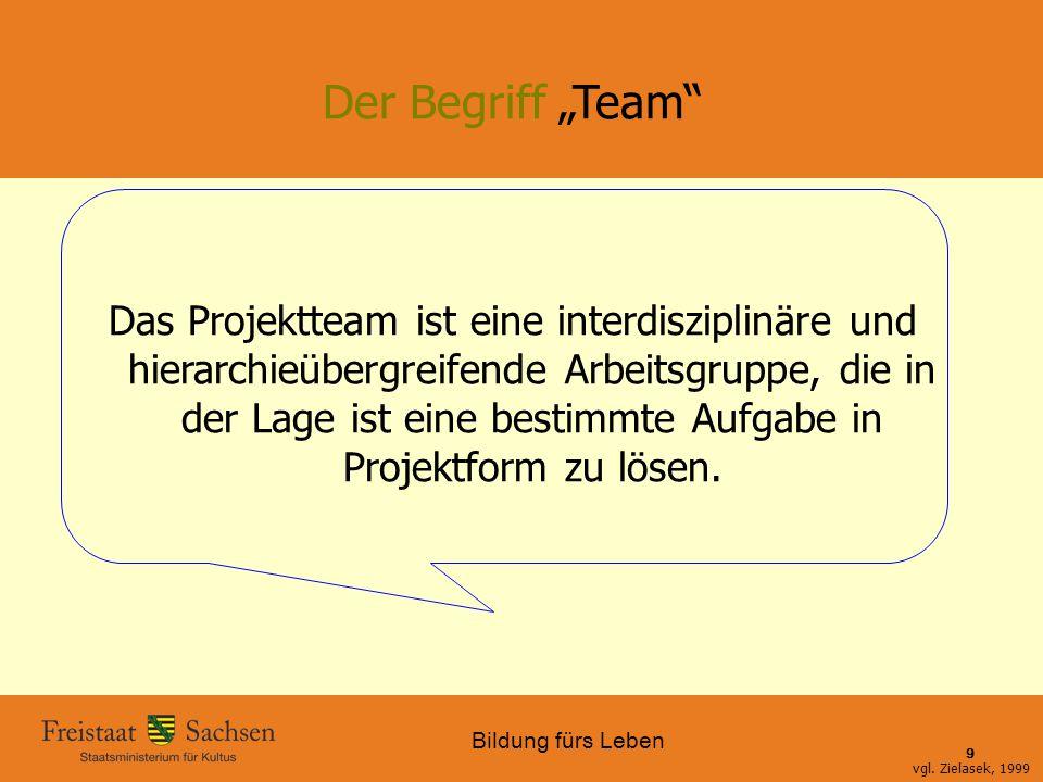 """Bildung fürs Leben 01.06.2015 SMK – Bildung fürs Leben 9 Der Begriff """"Team"""" Das Projektteam ist eine interdisziplinäre und hierarchieübergreifende Arb"""