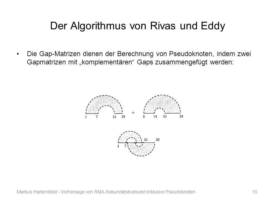Markus Hartenfeller - Vorhersage von RNA-Sekundärstrukturen inklusive Pseudoknoten15 Der Algorithmus von Rivas und Eddy Die Gap-Matrizen dienen der Be