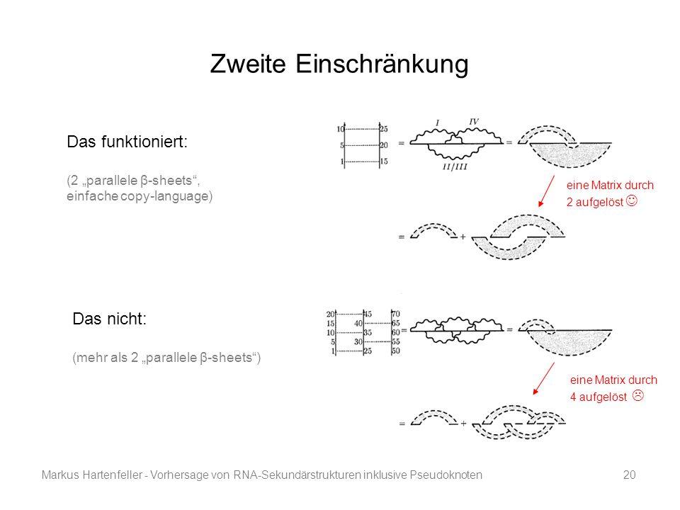 """Markus Hartenfeller - Vorhersage von RNA-Sekundärstrukturen inklusive Pseudoknoten20 Zweite Einschränkung Das funktioniert: (2 """"parallele β-sheets"""", e"""