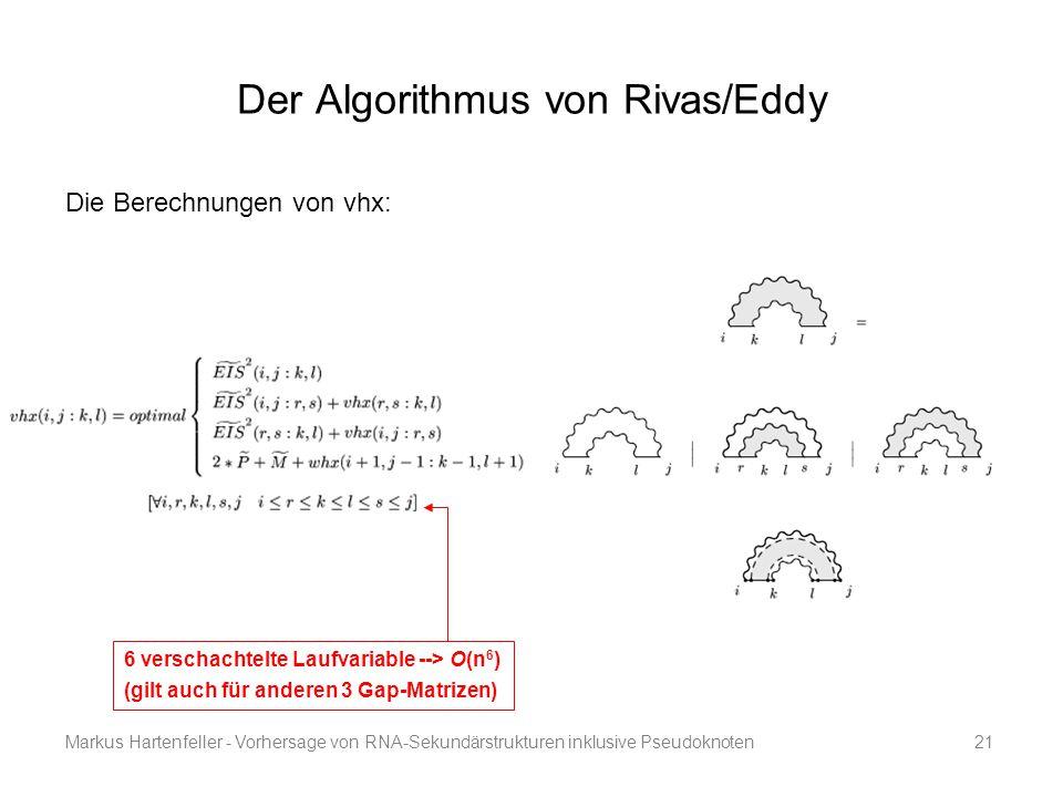 Markus Hartenfeller - Vorhersage von RNA-Sekundärstrukturen inklusive Pseudoknoten21 Der Algorithmus von Rivas/Eddy 6 verschachtelte Laufvariable -->