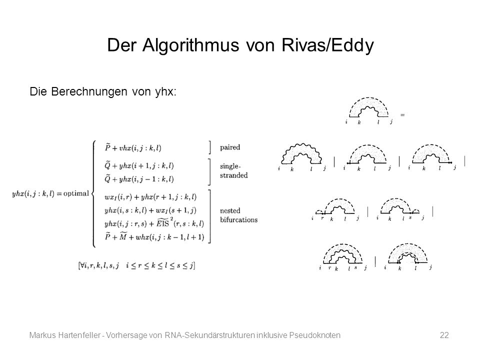 Markus Hartenfeller - Vorhersage von RNA-Sekundärstrukturen inklusive Pseudoknoten22 Der Algorithmus von Rivas/Eddy Die Berechnungen von yhx: