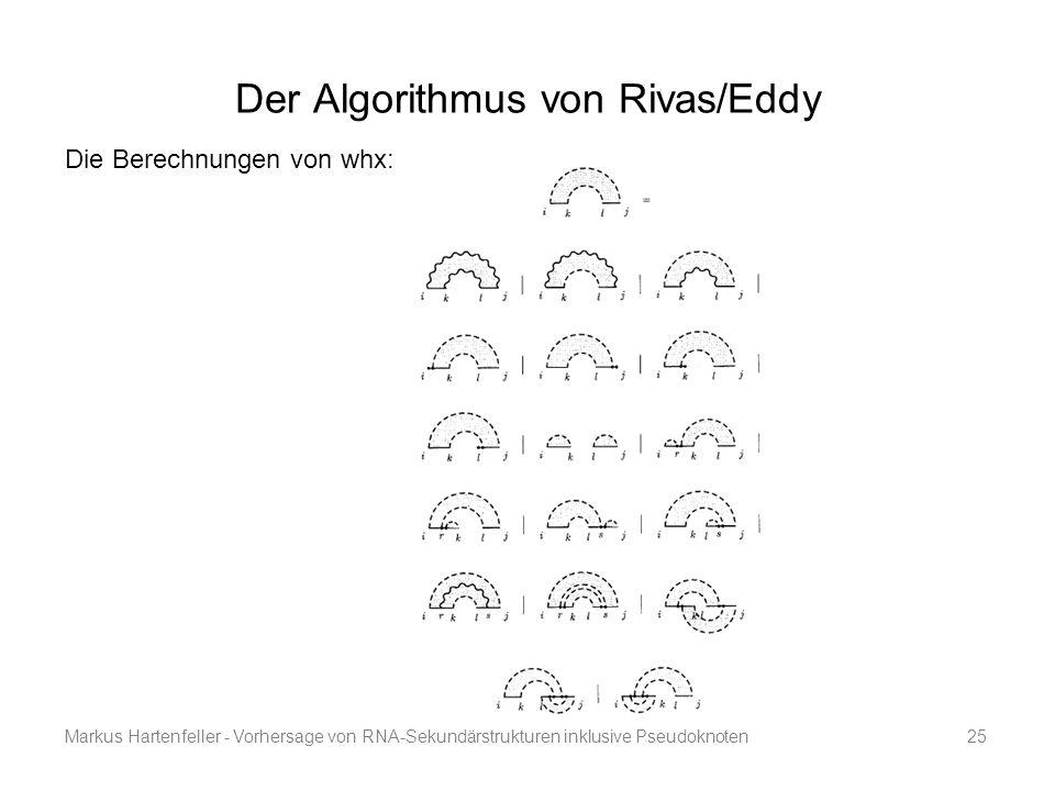 Markus Hartenfeller - Vorhersage von RNA-Sekundärstrukturen inklusive Pseudoknoten25 Der Algorithmus von Rivas/Eddy Die Berechnungen von whx: