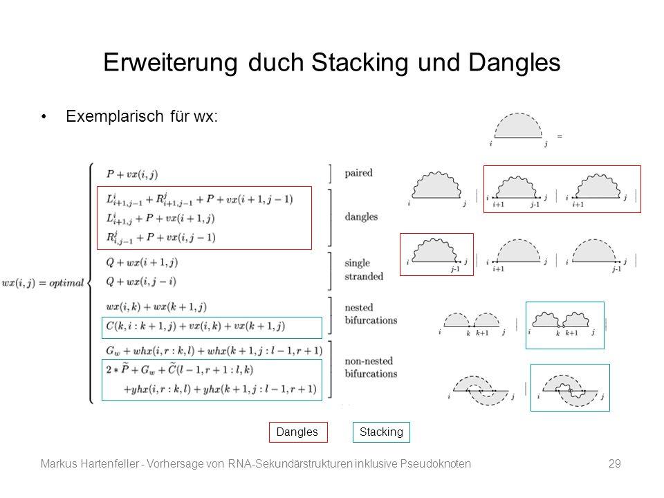 Markus Hartenfeller - Vorhersage von RNA-Sekundärstrukturen inklusive Pseudoknoten29 Erweiterung duch Stacking und Dangles Exemplarisch für wx: Stacki