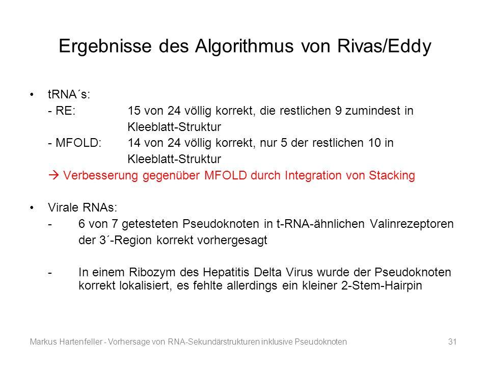 Markus Hartenfeller - Vorhersage von RNA-Sekundärstrukturen inklusive Pseudoknoten31 Ergebnisse des Algorithmus von Rivas/Eddy tRNA´s: - RE: 15 von 24