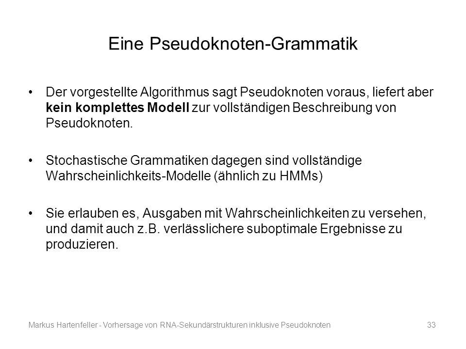 Markus Hartenfeller - Vorhersage von RNA-Sekundärstrukturen inklusive Pseudoknoten33 Eine Pseudoknoten-Grammatik Der vorgestellte Algorithmus sagt Pse