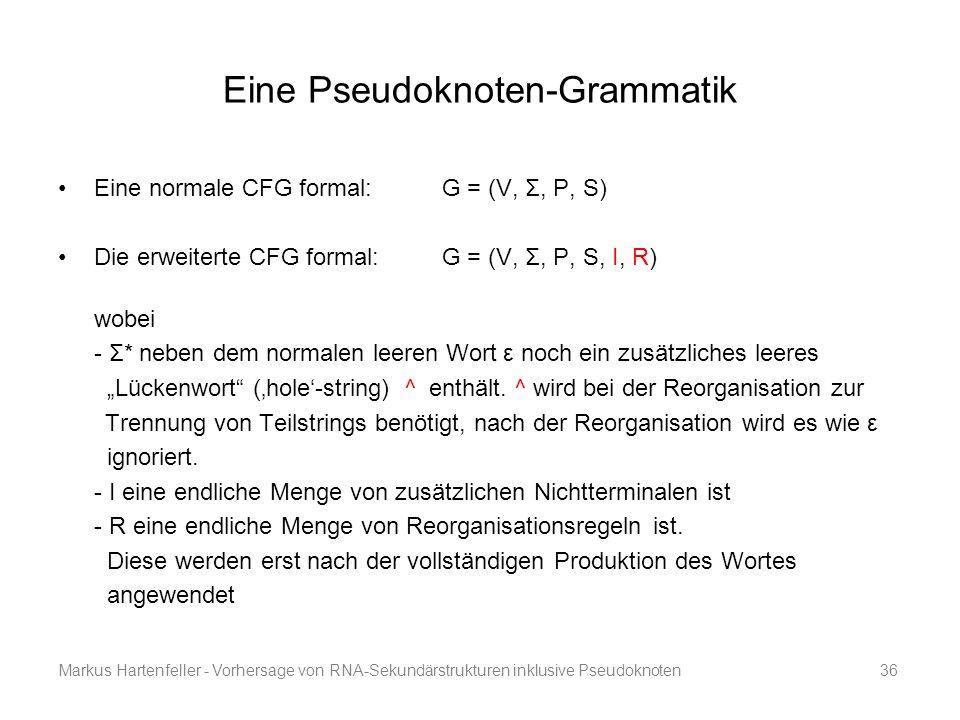 Markus Hartenfeller - Vorhersage von RNA-Sekundärstrukturen inklusive Pseudoknoten36 Eine Pseudoknoten-Grammatik Eine normale CFG formal:G = (V, Σ, P,