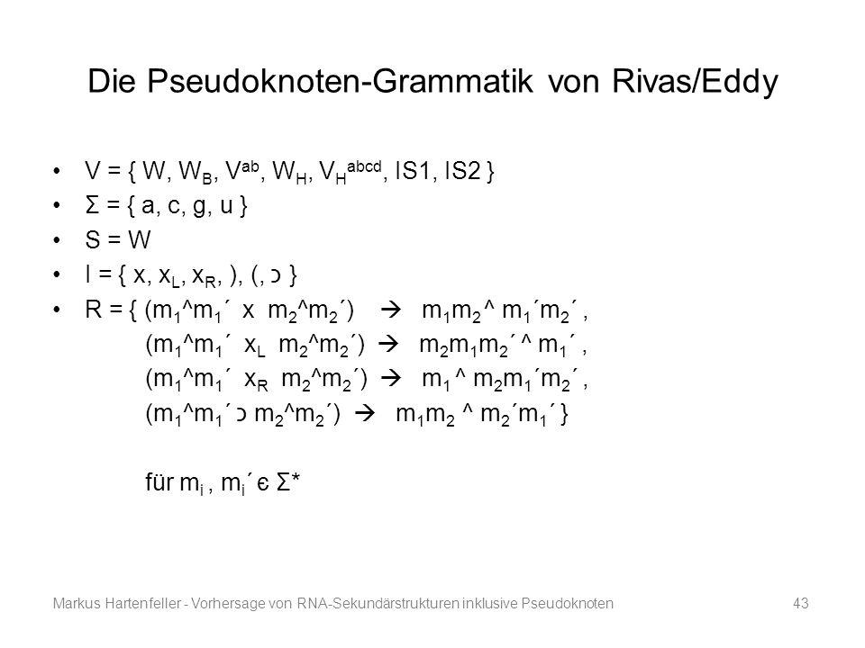 Markus Hartenfeller - Vorhersage von RNA-Sekundärstrukturen inklusive Pseudoknoten43 Die Pseudoknoten-Grammatik von Rivas/Eddy V = { W, W B, V ab, W H