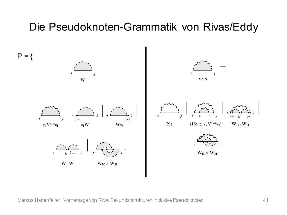 Markus Hartenfeller - Vorhersage von RNA-Sekundärstrukturen inklusive Pseudoknoten44 Die Pseudoknoten-Grammatik von Rivas/Eddy P = {