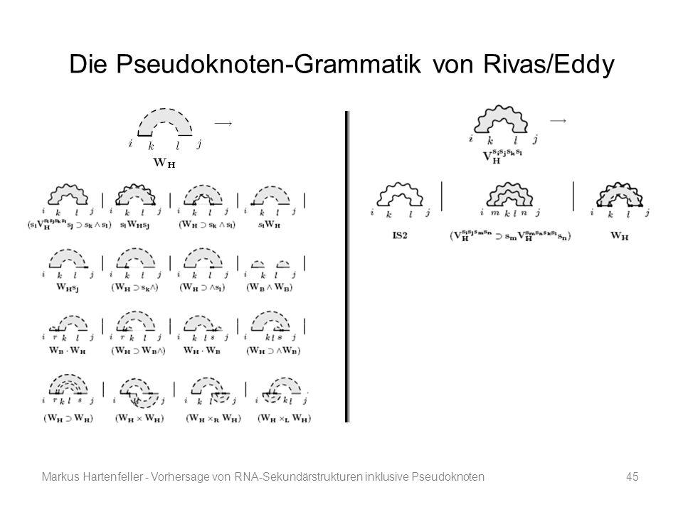 Markus Hartenfeller - Vorhersage von RNA-Sekundärstrukturen inklusive Pseudoknoten45 Die Pseudoknoten-Grammatik von Rivas/Eddy