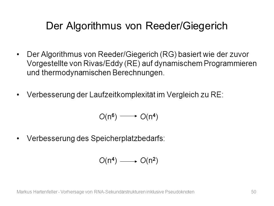 Markus Hartenfeller - Vorhersage von RNA-Sekundärstrukturen inklusive Pseudoknoten50 Der Algorithmus von Reeder/Giegerich Der Algorithmus von Reeder/G