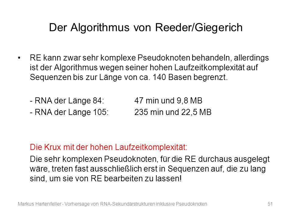 Markus Hartenfeller - Vorhersage von RNA-Sekundärstrukturen inklusive Pseudoknoten51 Der Algorithmus von Reeder/Giegerich RE kann zwar sehr komplexe P