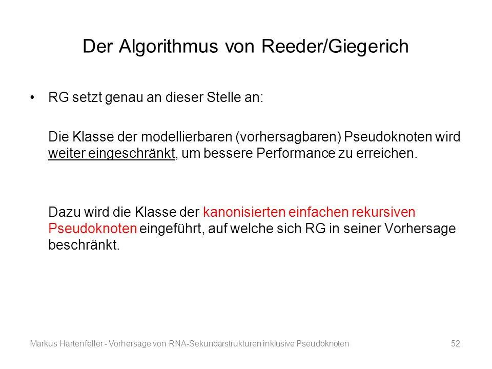Markus Hartenfeller - Vorhersage von RNA-Sekundärstrukturen inklusive Pseudoknoten52 Der Algorithmus von Reeder/Giegerich RG setzt genau an dieser Ste