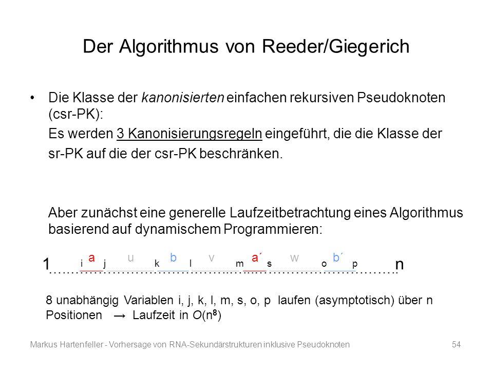 Markus Hartenfeller - Vorhersage von RNA-Sekundärstrukturen inklusive Pseudoknoten54 Der Algorithmus von Reeder/Giegerich Die Klasse der kanonisierten