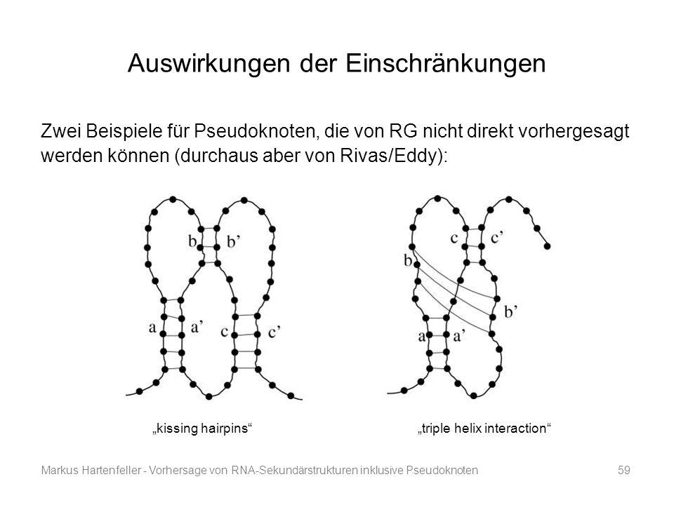 Markus Hartenfeller - Vorhersage von RNA-Sekundärstrukturen inklusive Pseudoknoten59 Auswirkungen der Einschränkungen Zwei Beispiele für Pseudoknoten,