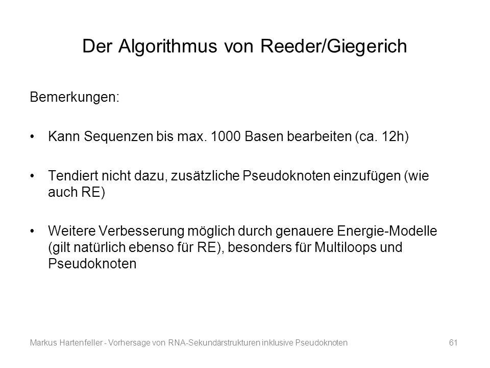 Markus Hartenfeller - Vorhersage von RNA-Sekundärstrukturen inklusive Pseudoknoten61 Der Algorithmus von Reeder/Giegerich Bemerkungen: Kann Sequenzen