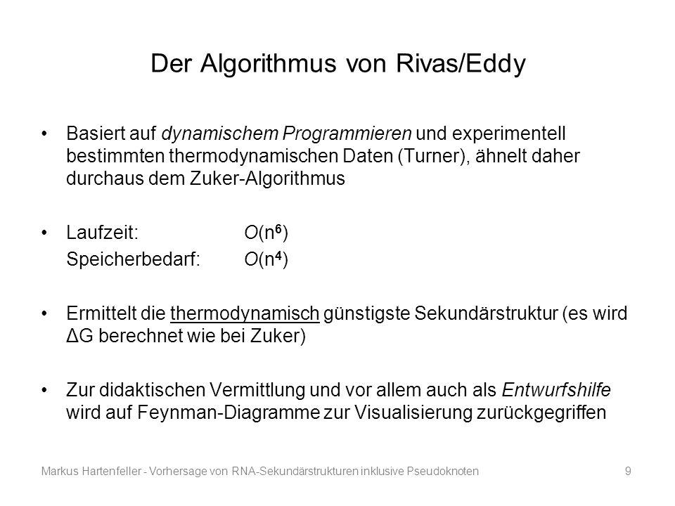 Markus Hartenfeller - Vorhersage von RNA-Sekundärstrukturen inklusive Pseudoknoten9 Der Algorithmus von Rivas/Eddy Basiert auf dynamischem Programmier
