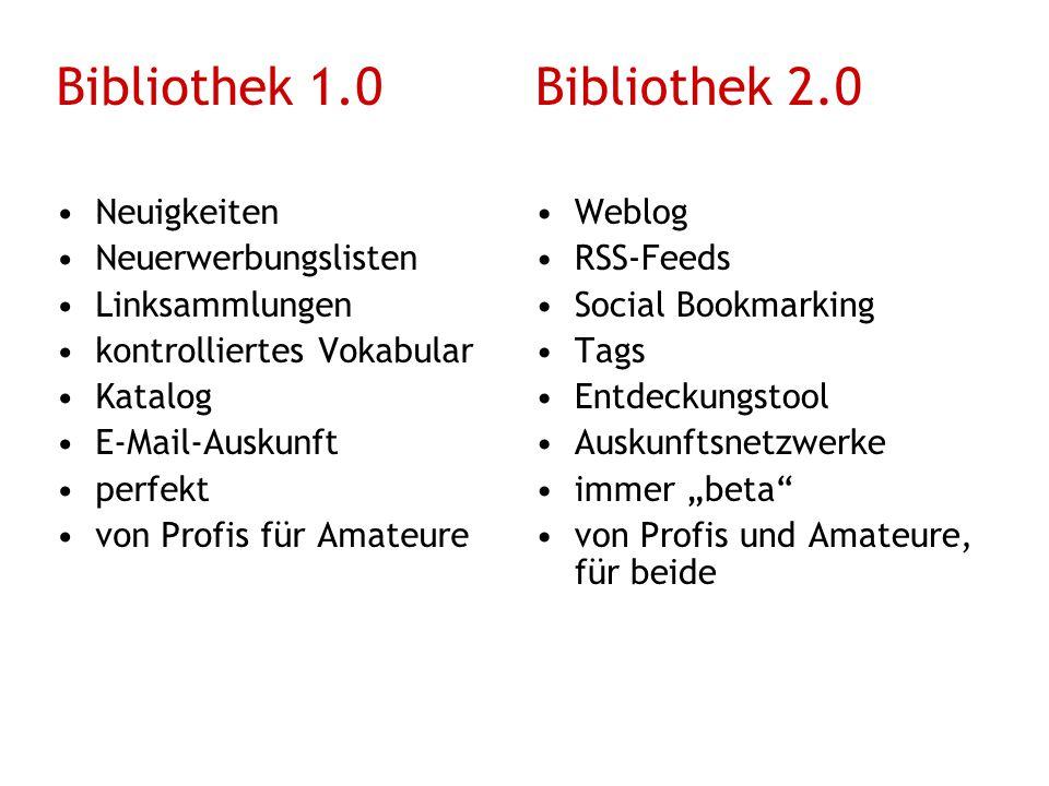 Bibliothek 1.0Bibliothek 2.0 in eine Richtung Partizipation