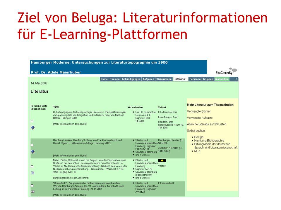Ziel von Beluga: Literaturinformationen für E-Learning-Plattformen