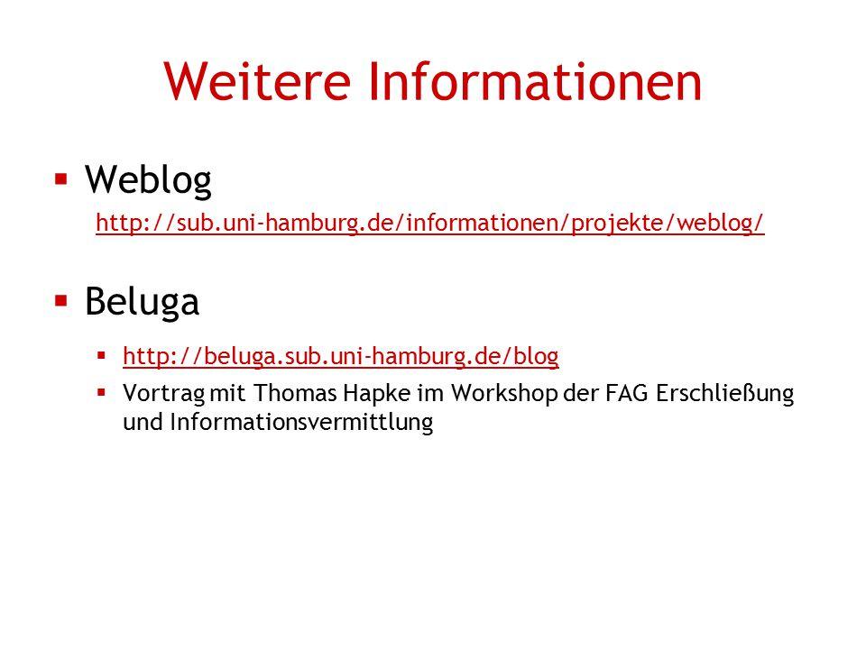 Weitere Informationen  Weblog http://sub.uni-hamburg.de/informationen/projekte/weblog/  Beluga  http://beluga.sub.uni-hamburg.de/blog  Vortrag mit