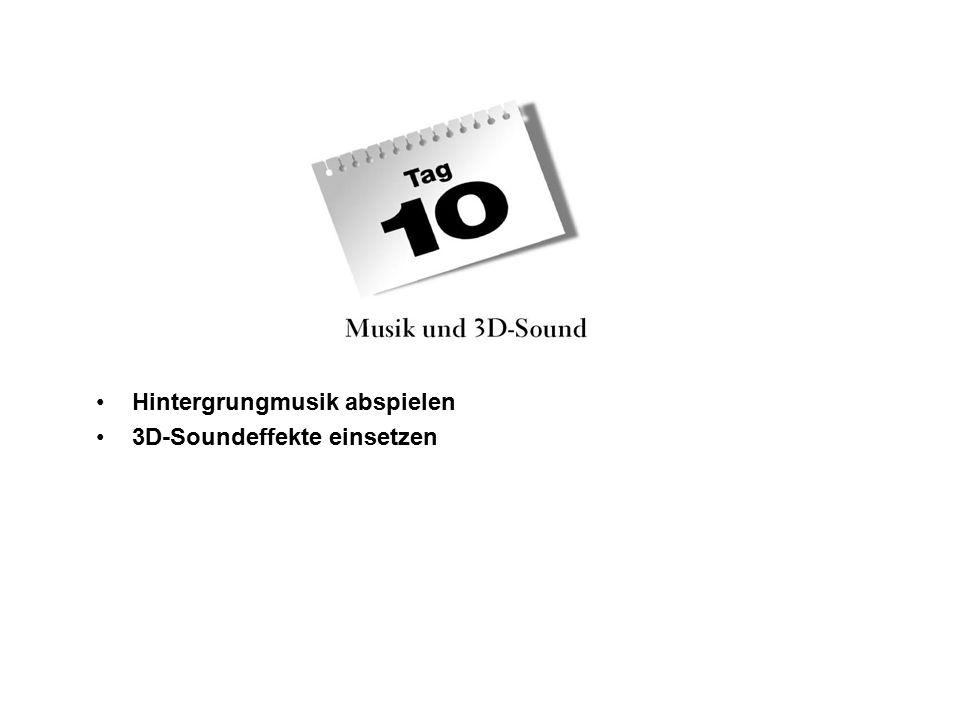 DirektX Audion und Hintergrundmusik DirectX 8 DirectMusik DirectSound DirectX Audio Folgende Klassen wurden eingeführt: CMusicManager CMusicSegment CMusicScript DirectX 9 Bekam zusätzlich die Klasse C3DMusicSegment, die den Einsatz von 3D-Sondeffekten erleichtert.