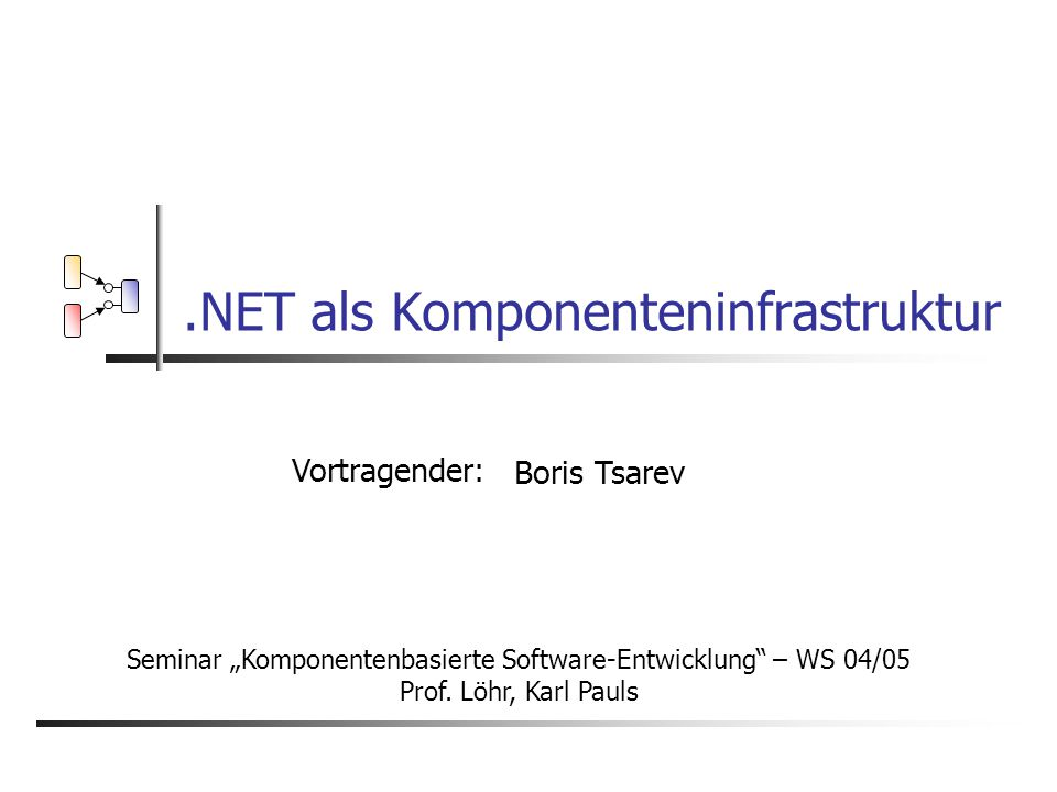 .NET als Komponenteninfrastruktur, B.Tsarev 2 Inhalt Was ist eine.NET Komponente.