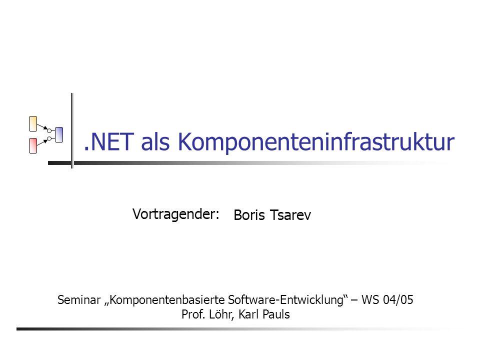 ".NET als Komponenteninfrastruktur Vortragender: Boris Tsarev Seminar ""Komponentenbasierte Software-Entwicklung – WS 04/05 Prof."