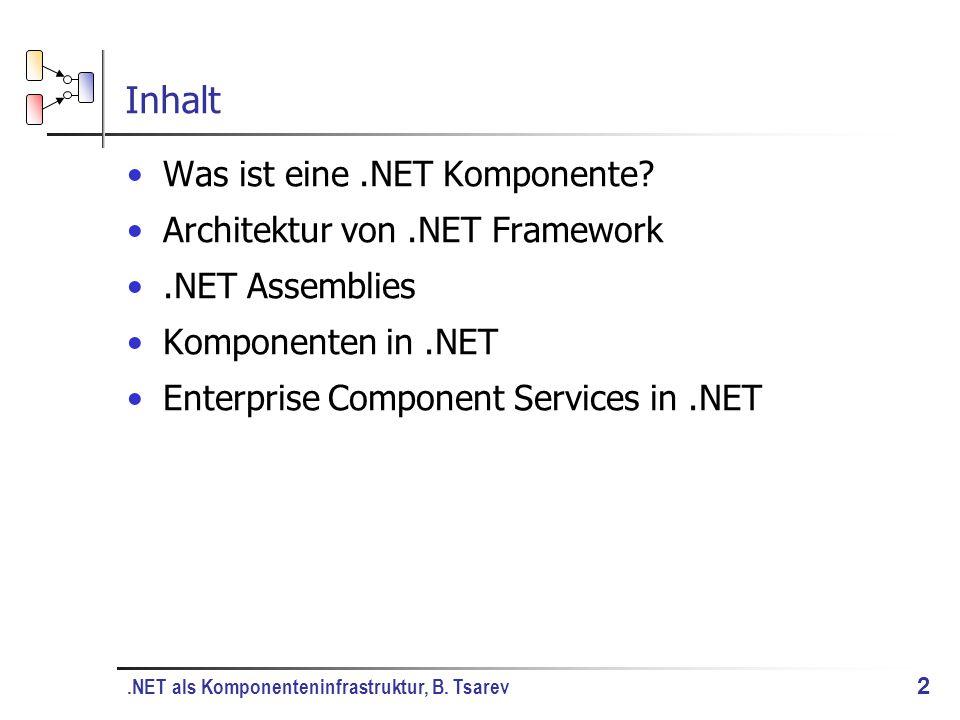 .NET als Komponenteninfrastruktur, B. Tsarev 2 Inhalt Was ist eine.NET Komponente.