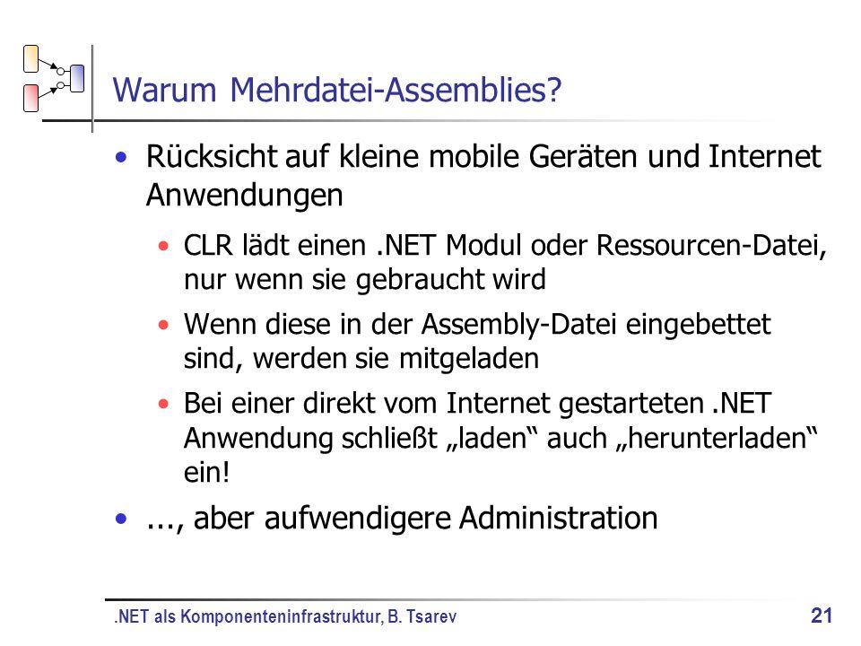 .NET als Komponenteninfrastruktur, B. Tsarev 21 Warum Mehrdatei-Assemblies.