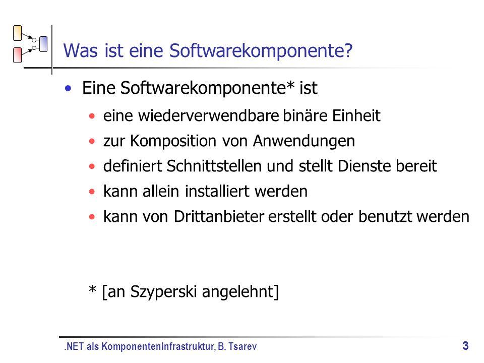 .NET als Komponenteninfrastruktur, B. Tsarev 3 Was ist eine Softwarekomponente.