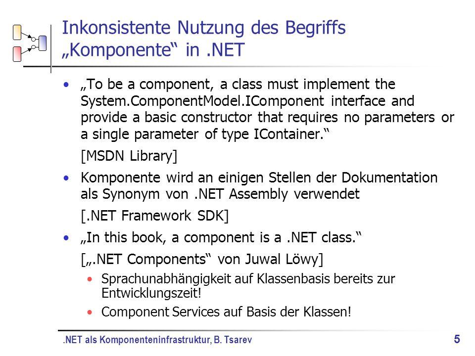.NET als Komponenteninfrastruktur, B.Tsarev 6 Was ist eine.NET Komponente.