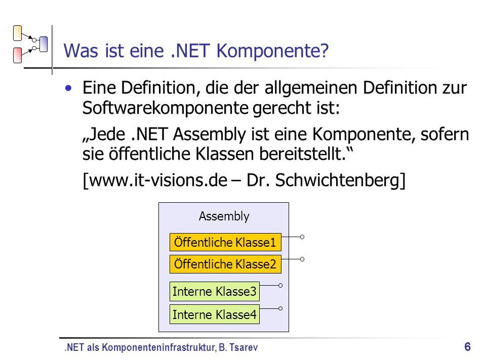 .NET als Komponenteninfrastruktur, B. Tsarev 6 Was ist eine.NET Komponente.