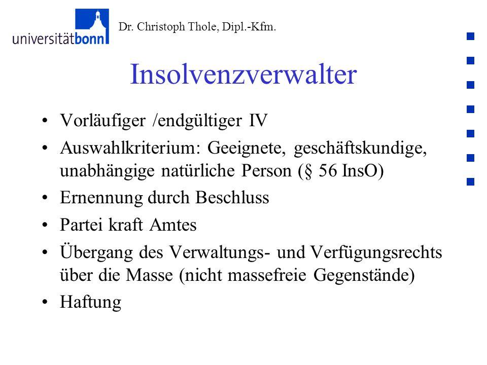 Dr. Christoph Thole, Dipl.-Kfm. Insolvenzverwalter Vorläufiger /endgültiger IV Auswahlkriterium: Geeignete, geschäftskundige, unabhängige natürliche P