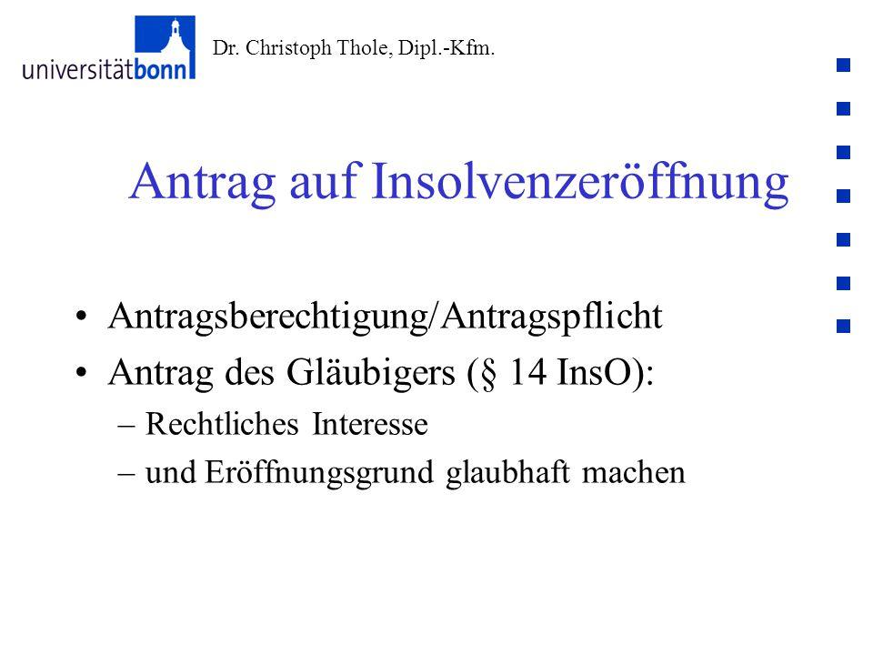 Dr. Christoph Thole, Dipl.-Kfm. Antrag auf Insolvenzeröffnung Antragsberechtigung/Antragspflicht Antrag des Gläubigers (§ 14 InsO): –Rechtliches Inter