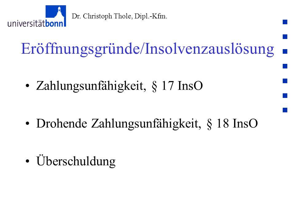 Dr. Christoph Thole, Dipl.-Kfm. Eröffnungsgründe/Insolvenzauslösung Zahlungsunfähigkeit, § 17 InsO Drohende Zahlungsunfähigkeit, § 18 InsO Überschuldu