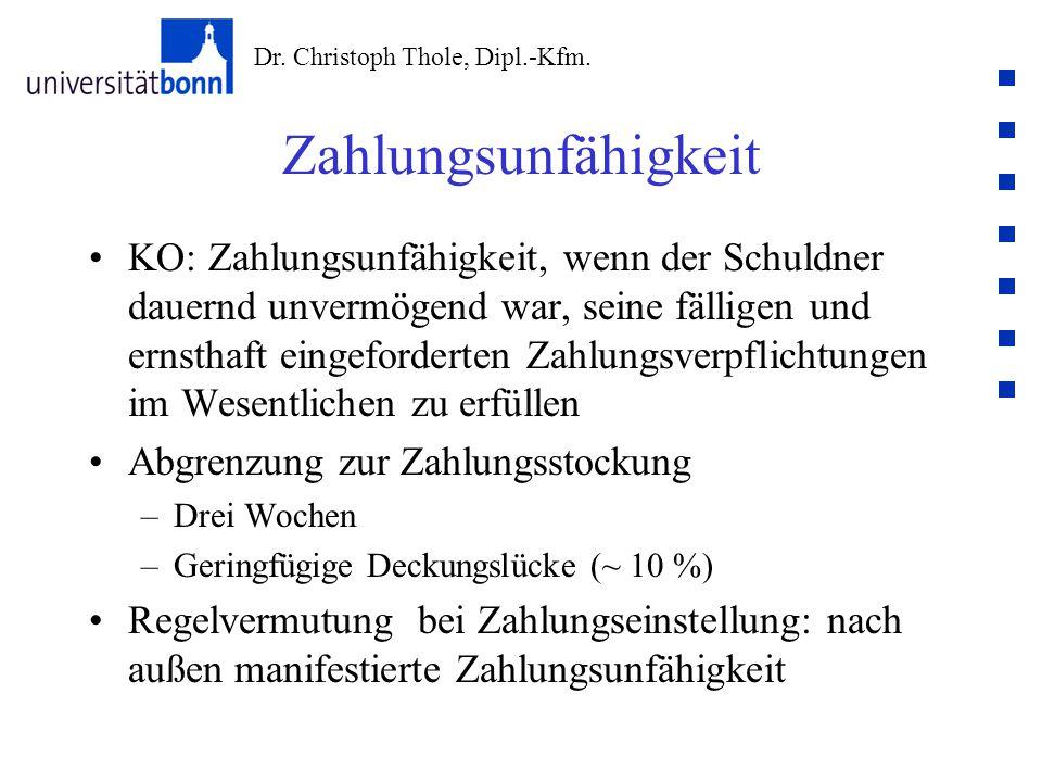 Dr. Christoph Thole, Dipl.-Kfm. Zahlungsunfähigkeit KO: Zahlungsunfähigkeit, wenn der Schuldner dauernd unvermögend war, seine fälligen und ernsthaft