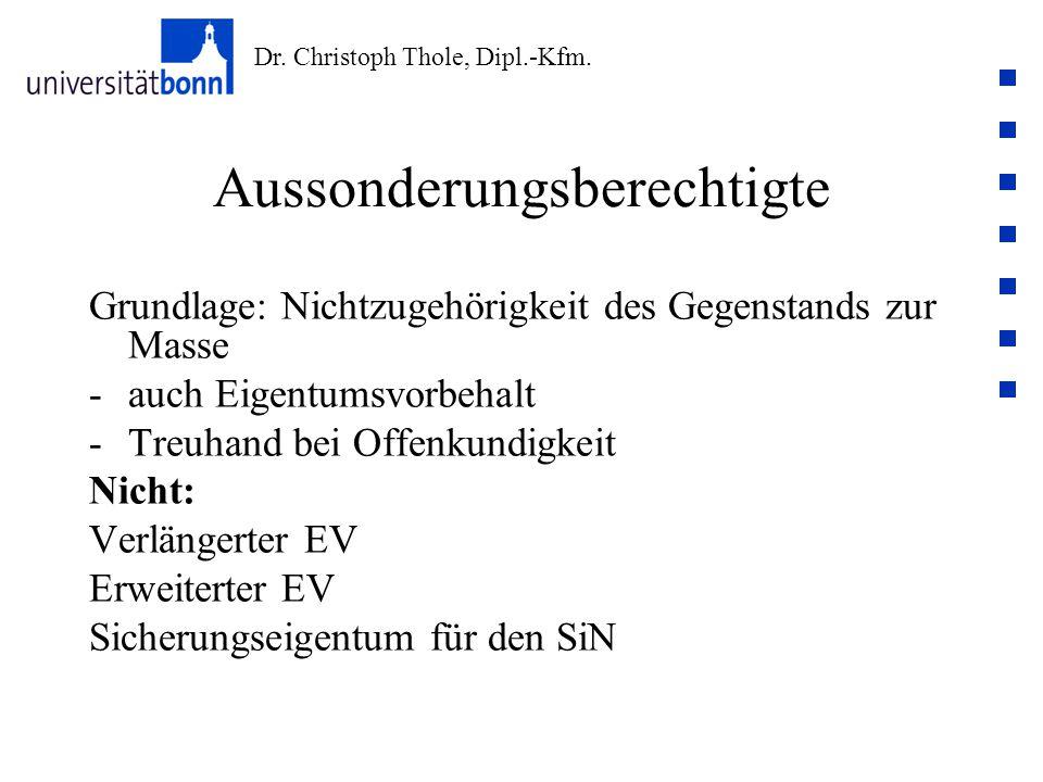 Dr. Christoph Thole, Dipl.-Kfm. Aussonderungsberechtigte Grundlage: Nichtzugehörigkeit des Gegenstands zur Masse -auch Eigentumsvorbehalt -Treuhand be