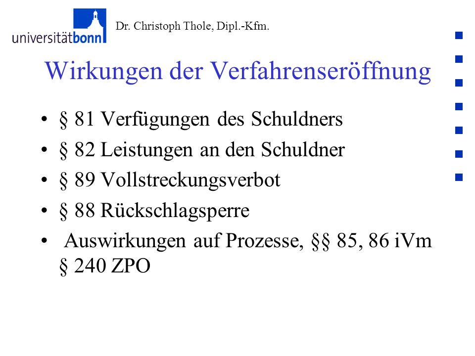 Dr. Christoph Thole, Dipl.-Kfm. Wirkungen der Verfahrenseröffnung § 81 Verfügungen des Schuldners § 82 Leistungen an den Schuldner § 89 Vollstreckungs