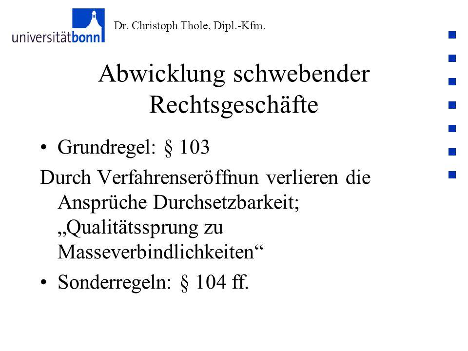 Dr. Christoph Thole, Dipl.-Kfm. Abwicklung schwebender Rechtsgeschäfte Grundregel: § 103 Durch Verfahrenseröffnun verlieren die Ansprüche Durchsetzbar